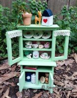 Mint Green Dollhouse Cupboard by thedansemacabre
