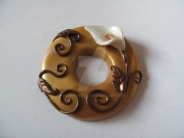 Gold fimo donut pendant arum by kamen-kage