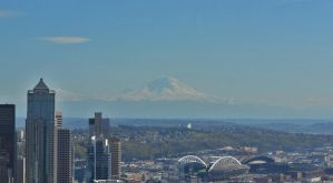 Space Needle - View of Mount Rainier by shockdolly
