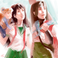 Shippou, Kagome and Sango by mollygrue