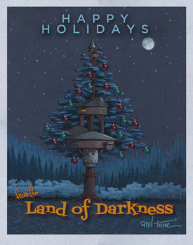 Land o' Darkness Holiday Card by OneMillionMonsters