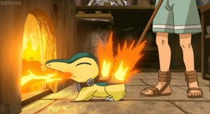 Cyndaquil lighting the fire! by ryanthescooterguy
