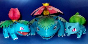 Bulbasaur Evolutionary Line Papercraft by Sabi996