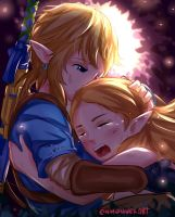 BOTW: Link and Zelda Hug by Enmanuelart20