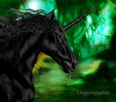 Black unicorn by vampirekingdom