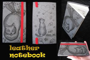 Leather cat notebook by ChibiPyro
