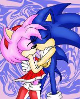 Sonic and Amy kissing moment by Moon-Shyne