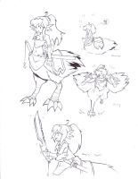 Lineart - Chocobo Girl by beppodragon