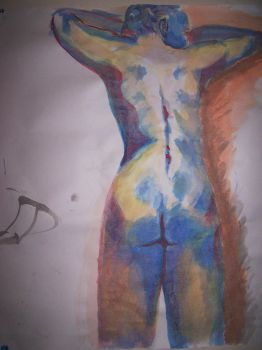 Watercolor Nude Rear by mmmlewon