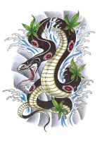 Asian Snake Tattoo Design by konZ3pt