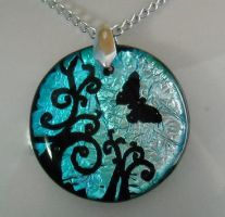 Blue Butterfly Swirls Pendant by poisons-sanity