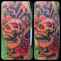 Upper arm skull tattoo by WillemXSM
