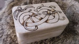 Viking Dragon Knotwork Wooden Box by Troll-Blood