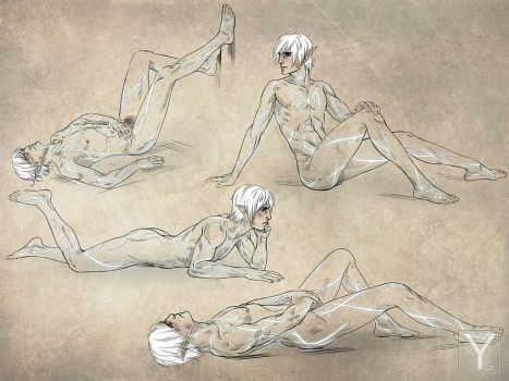 DA2 - Fenris Naked Sketches-2 by Aaorin
