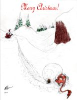 Snoball Fight! Christmas card by Feanor-the-Dragon