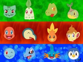 Starter Pokemon Wallpaper by BlackBirdo