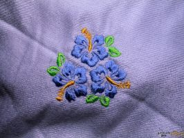 Embroidered Hibiscus in Grey by gishzida