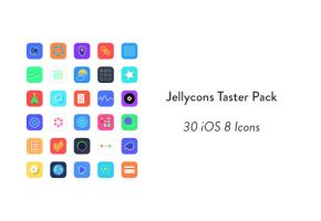 Jellycons – 30 Sketch iOS8 icons by freebiespsd