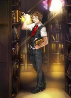 At the Library by Girutea