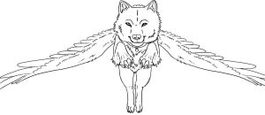 Free Winged Wolf Lineart by Sapphira-Page