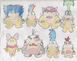 Koopalings - Pencil Coloured by Tails19950