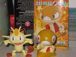 Meowth and Scraggy Figures by tanlisette