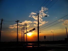 Traffic Light Sunset by Delta406