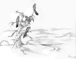 Crows on a tree by Fessel