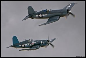 Planes of Fame Corsairs 2011 by AirshowDave