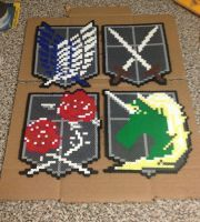 Attack on Titans Perler Bead Emblems by jnjfranklin