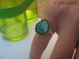 Minecraft Inspired Diamond Ring by tinybackpack