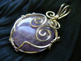 Amethyst abstract owl pendant by BacktoEarthCreations