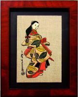 Hand embroidered painting Japanese Beauty by YANKA-arts-n-crafts