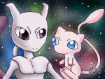Mewtwo and Mew by 29steph5
