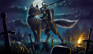 Wolf Knight Artorias on Sif by Gallardose
