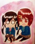 Azusa and Yui from K-On! by Sniffflez