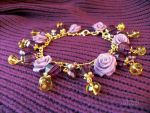 Bracelet Purple roses by NastasiaHands