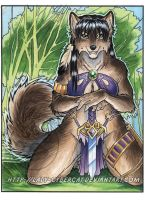 Green Forest Wolf  Watercolor by lady-cybercat