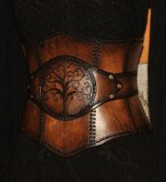 leather corset  (tree of life) by Lagueuse
