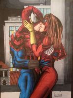 spiderman kissing spider woman, colour version by Skoolnik