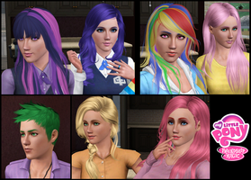 The Sims 3: MLP FiM Mane Six (plus Spike) Close-Up by Tx-Slade-xT