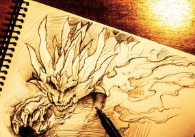 Flaming Sun Dragon Sketch by CryCheeAAA