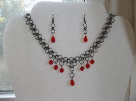 Gunmetal Chainmaille choker/earring set by jenscraftycreations