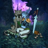 Draenei Hunter and Nightstalker by Whimsical-Waffles