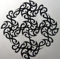 Tribal Tile 1 by Knotty-Inks by M-C-Escher-Style