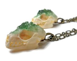 Green Apatite Bat Skull Necklace by KristenJarvisART