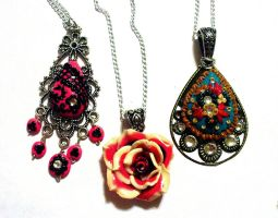 3 polymer clay necklaces by EruwaedhielElleth