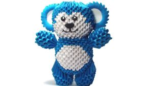 3D origami blue bear by Girnelis