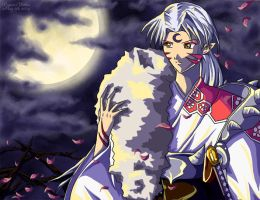 Sesshomaru under the moon by powerswithin
