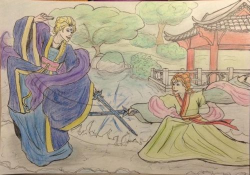 elsanna sword fighting by mirandapowa